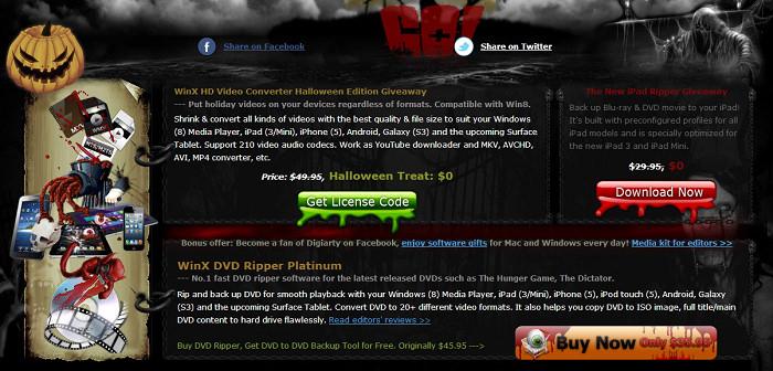 Digiarty 萬聖節活動 – WinX HD Video Converter、The New iPad Ripper 限時免費軟體下載