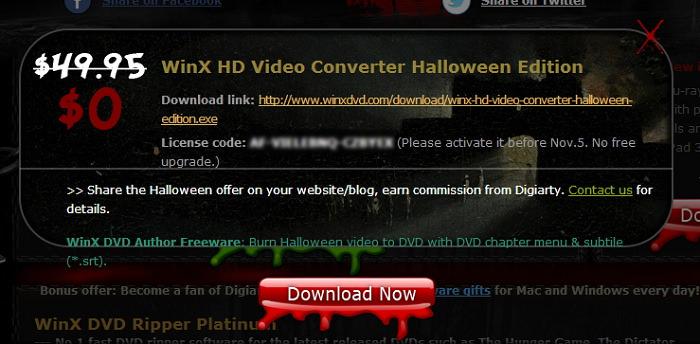 Digiarty 萬聖節活動 – WinX HD Video Converter、The New iPad Ripper 限時免費軟體下載