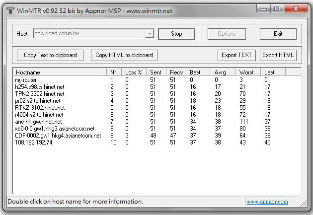 WinMTR 好用伺服器 Ping 與 Tracert 圖形化連線測試軟體下載@免安裝版