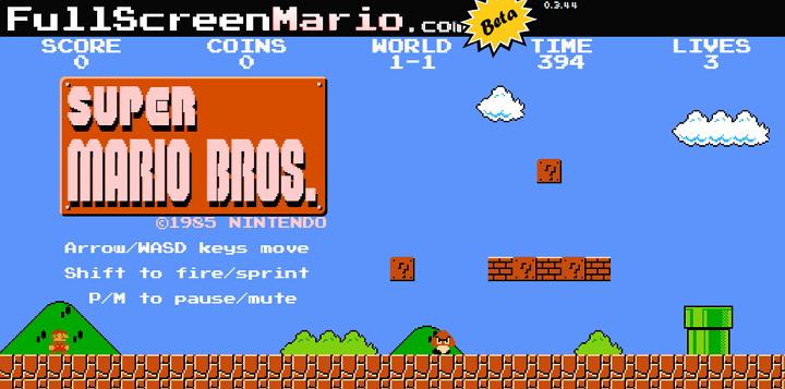"""[經典必玩] 超級瑪莉 """"FullScreenMario"""" 網頁版遊戲@可自選、創建關卡 (免下載)"""