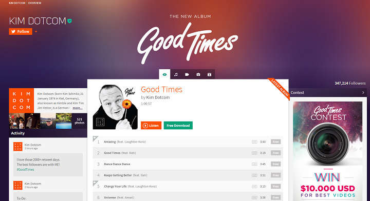 Baboom –  MEGA 創辦人新推出免費音樂線上收聽、下載網站