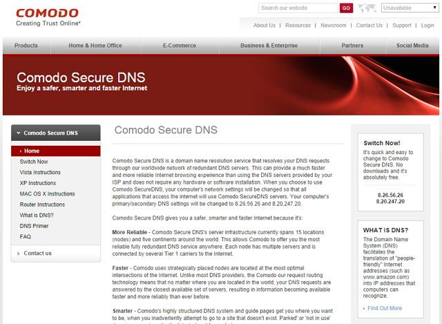 Comodo Secure DNS – 國外把關電腦網路安全域名解析服務