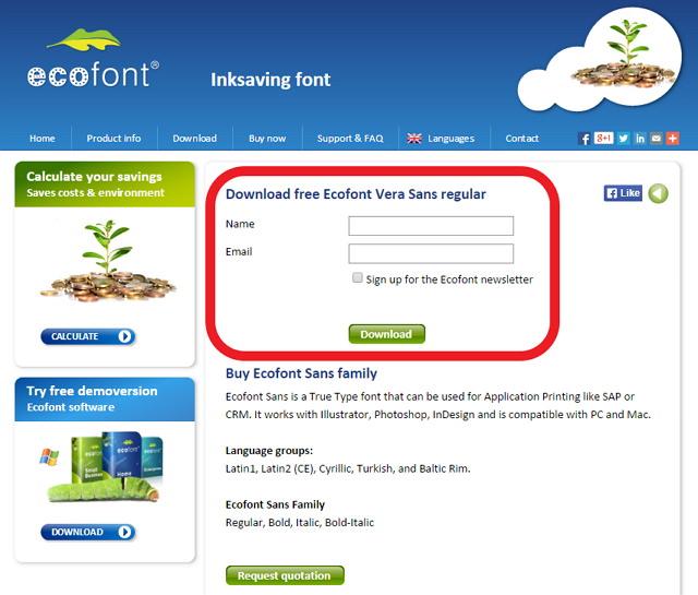 Ecofont 主打環保字型免費下載@可節省達 20% 墨水量