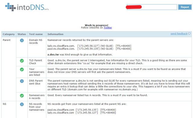 IntoDNS 檢查網域 DNS、郵件伺服器健康狀況