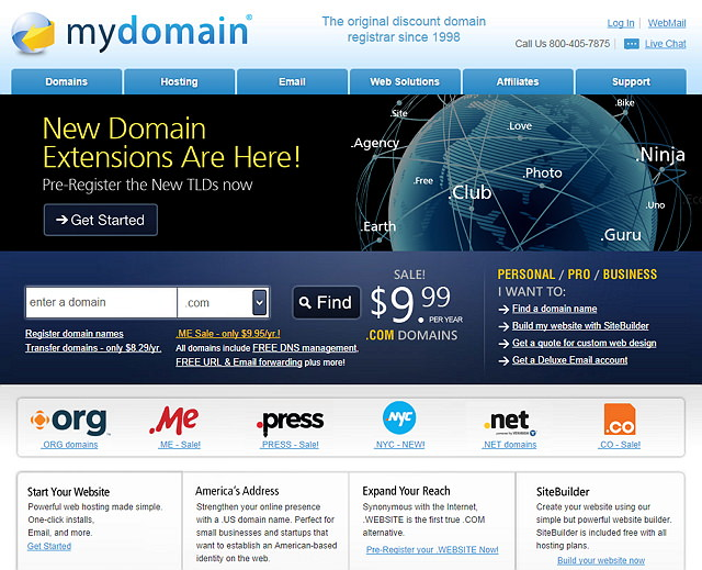 MyDomain 免費網頁轉址、郵件轉址、DNS設定服務