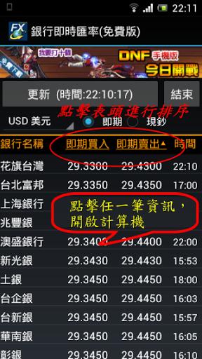 [Android工具] 銀行即時匯率@銀行匯率比較,哪間銀行換匯最划算
