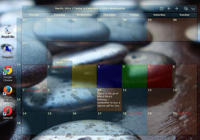 桌面日曆 DesktopCal – 電腦桌面半透明月曆軟體@中文版