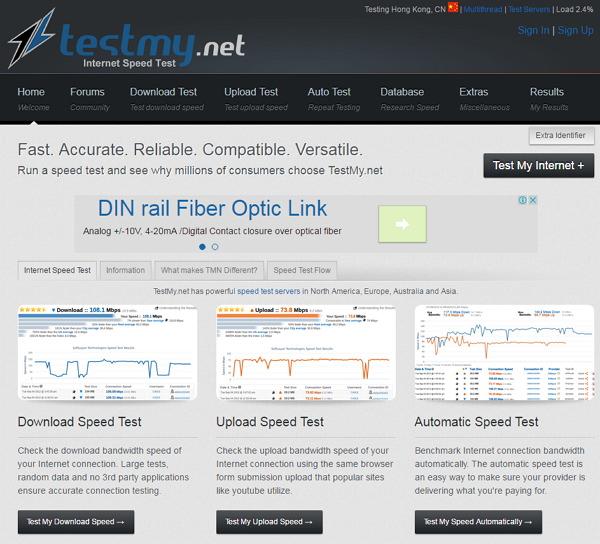 TestMy.net 國外大型免費線上測試網路連線速度平台