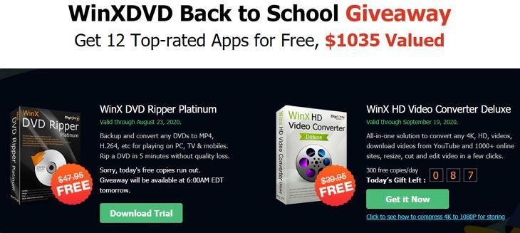 WinXDVD 返校季限時免費贈送影音/系統/備份/修圖共 12 款軟體超過 00 美元